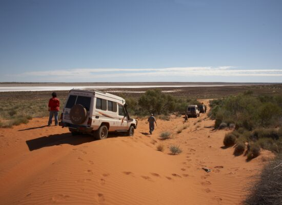 In the middle of the australian desert 3 landcruiser and people on a dune