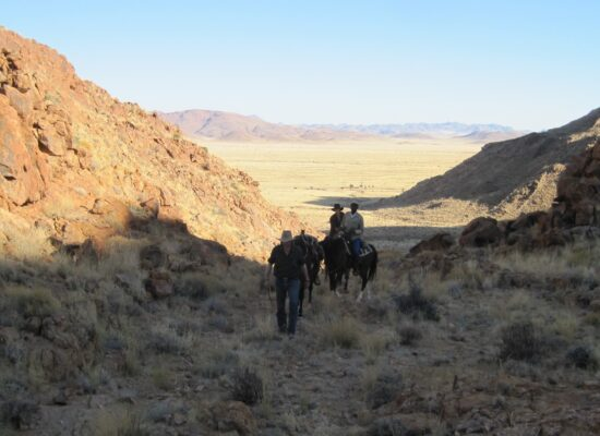 with horses over a pass in Namibia