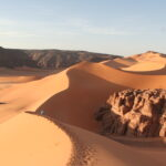 Footprints on a Dune viewed from upside in Algeria during a 4x4 overland expedition
