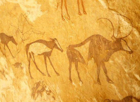 Allerlei Tiere auf Felsen gemalt in Algerien