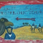 Tmbouctou Karawanen Schild zeigt 52 Tage von hier nach Timbouctou in Marokko Königreich des Maghreb